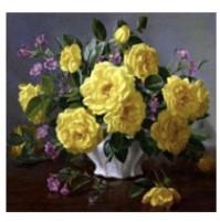 Diamond Painting mazzo rose gialle parziale con telaio 20x20 cm