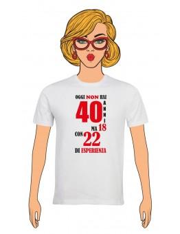 T-Shirt Donna Buon Compleanno per i tuoi 40 anni